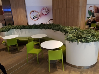 Corian seating unit and flowerpot